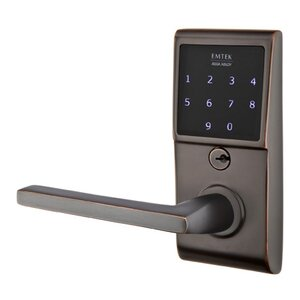 Emtek Hardware Helios Left Hand Emtouch Lever with Electronic Touchscreen Lock in Oil Rubbed Bronze