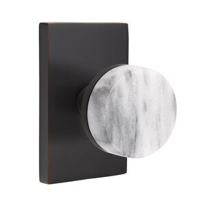 Emtek Hardware Double Dummy Modern Rectangular Rosette with Conical Stem and White Marble Knob in Oil Rubbed Bronze