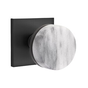 Emtek Hardware Passage Square Rosette with Concealed Screws Conical Stem and White Marble Knob in Flat Black