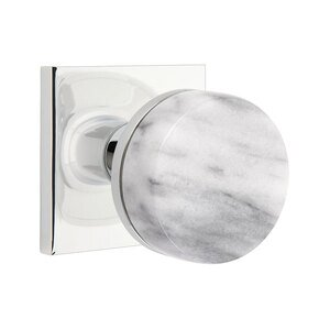 Emtek Hardware Passage Square Rosette with Conical Stem and White Marble Knob in Polished Chrome