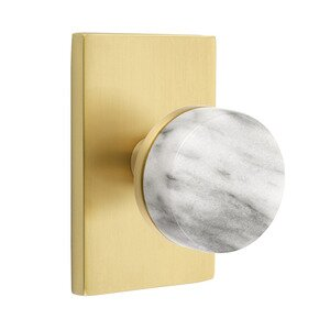 Emtek Hardware Passage Modern Rectangular Rosette with Conical Stem and White Marble Knob in Satin Brass