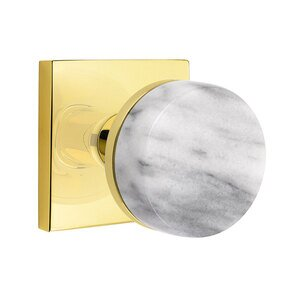 Emtek Hardware Privacy Square Rosette with Conical Stem and White Marble Knob in Unlacquered Brass