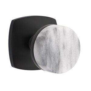 Emtek Hardware Passage Urban Modern Rosette with Concealed Screws Conical Stem and White Marble Knob in Flat Black