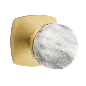 Emtek Hardware Passage Urban Modern Rosette with Concealed Screws Conical Stem and White Marble Knob in Satin Brass