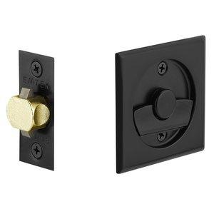 Emtek Hardware Tubular Square Privacy Pocket Door Lock in Flat Black