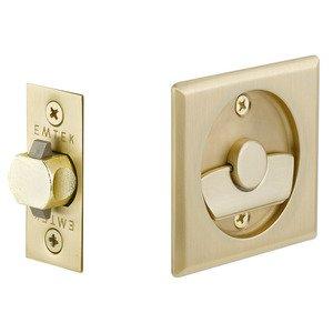 Emtek Hardware Tubular Square Privacy Pocket Door Lock in Satin Brass