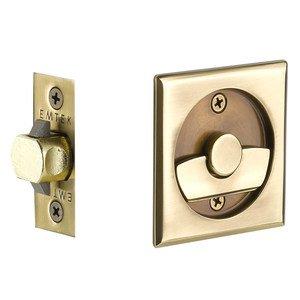 Emtek Hardware Tubular Square Privacy Pocket Door Lock in French Antique