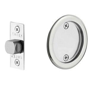 Emtek Hardware Tubular Round Passage Pocket Door Lock in Polished Chrome