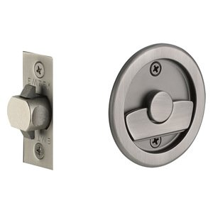 Emtek Hardware Tubular Round Privacy Pocket Door Lock in Pewter