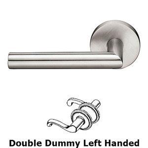 Stainless Steel Stuttgart Left Hand Double Dummy Door Lever With Brushed Stainless Steel Disk Rose Emtek Hardware S30002stt Full