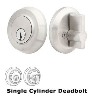 Emtek Hardware Round Stainless Single Cylinder Deadbolt in Satin Stainless Steel