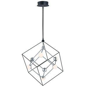 ET2 Lighting 7-Light LED Pendant in Black / Polished Chrome