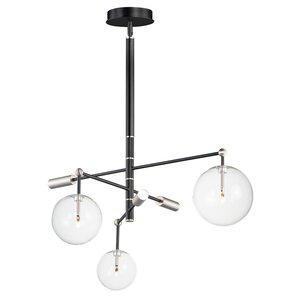 ET2 Lighting 3-Light LED Chandelier in Black / Satin Nickel