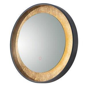"ET2 Lighting LED Mirror Round 23.5"" in Gold Leaf / Black"