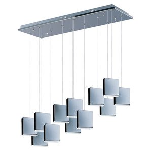 ET2 Lighting 12 Light LED Linear Pendant in Polished Chrome with White Glass