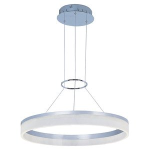 ET2 Lighting LED Pendant in Metallic Silver with Matte White Glass