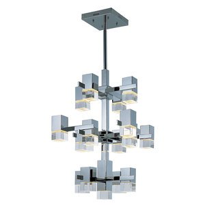 ET2 Lighting 17 Light Pendant in Polished Chrome with Clear Acrylic Glass
