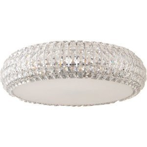 "ET2 Lighting 21"" 9-Light Flush Mount in Polished Chrome with Crystal"