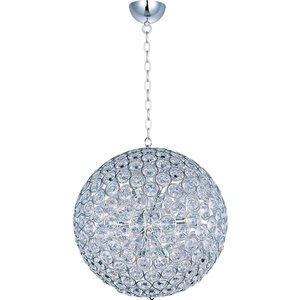 """ET2 Lighting 24"""" 12-Light Single Pendant in Polished Chrome with Crystal"""