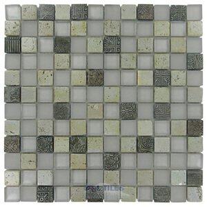 "Distinctive Glass Tile 11 3/4"" x 11 3/4"" Glass & Stone Mosaic in Pompeii"