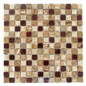 "Distinctive Glass Tile 12"" x 12"" Stone Mosaic in Minos"