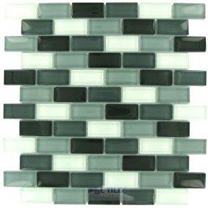 "Distinctive Glass Tile Brick Color Block Grayscale 12"" x 12"" Mesh Backed Sheet"