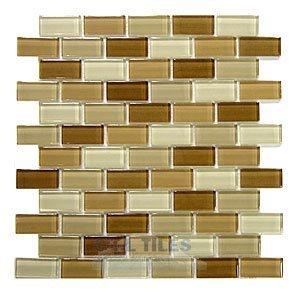 "Distinctive Glass Tile Brick Color Block Cappuccino 12"" x 12"" Mesh Backed Sheet"