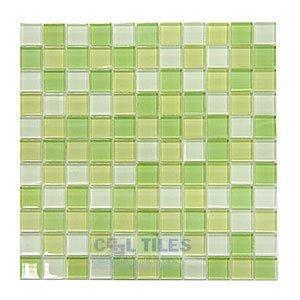 "Distinctive Glass Tile 1"" Color Block Key Lime Pie 12"" x 12"" Mesh Backed Sheet"