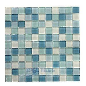 "Distinctive Glass Tile 1"" Color Block Blue Lagoon 12"" x 12"" Mesh Backed Sheet"