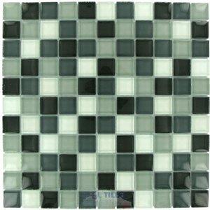 "Distinctive Glass Tile 1"" Color Block Grayscale 12"" x 12"" Mesh Backed Sheet"