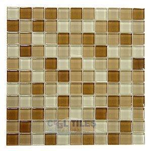 "Distinctive Glass Tile 1"" Color Block Cappuccino 12"" x 12"" Mesh Backed Sheet"