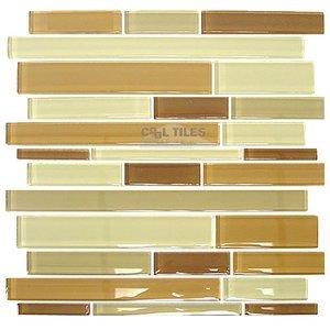 "Distinctive Glass Tile Glass Sticks Cocoa Mix 12"" x 12"" Mesh Backed Sheet"