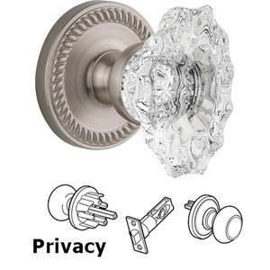 Grandeur Door Hardware Complete Privacy Set - Newport Rosette with Crystal Biarritz Knob in Satin Nickel