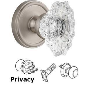 Grandeur Door Hardware Complete Privacy Set - Georgetown Rosette with Crystal Biarritz Knob in Satin Nickel