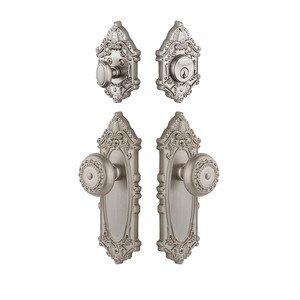 Grandeur Door Hardware Handleset - Grande Victorian Plate With Parthenon Knob & Matching Deadbolt In Satin Nickel