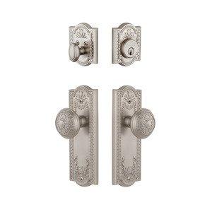 Grandeur Door Hardware Parthenon Plate With Windsor Knob & Matching Deadbolt In Satin Nickel