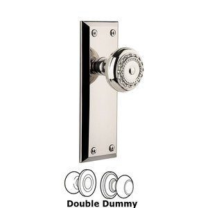 Grandeur Fifth Avenue Plate Double Dummy with Parthenon Knob in Polished Nickel
