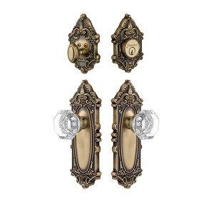 Grandeur Door Hardware Handleset - Grande Victorian Plate With Chambord Crystal Knob & Matching Deadbolt In Vintage Brass