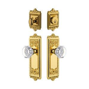 Grandeur Door Hardware Handleset - Windsor Plate With Chambord Crystal Knob & Matching Deadbolt In Lifetime Brass