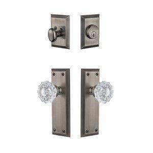 Grandeur Door Hardware Handleset - Fifth Avenue Plate With Versailles Crystal Knob & Matching Deadbolt In Antique Pewter
