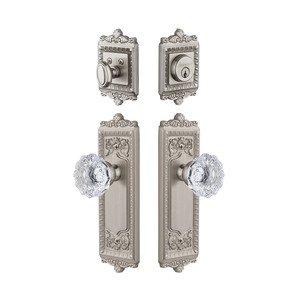 Grandeur Door Hardware Windsor Plate With Fontainebleau Crystal Knob & Matching Deadbolt In Satin Nickel