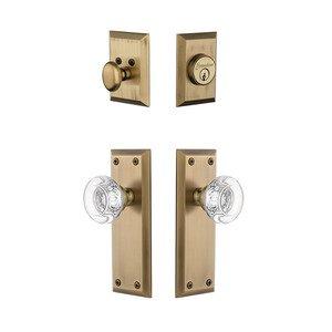 Grandeur Door Hardware Handleset - Fifth Avenue Plate With Bordeaux Crystal Knob & Matching Deadbolt In Vintage Brass