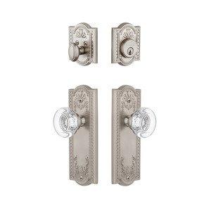Grandeur Door Hardware Handleset - Parthenon Plate With Bordeaux Crystal Knob & Matching Deadbolt In Satin Nickel
