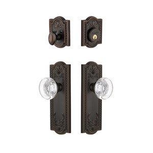 Grandeur Door Hardware Handleset - Parthenon Plate With Bordeaux Crystal Knob & Matching Deadbolt In Timeless Bronze