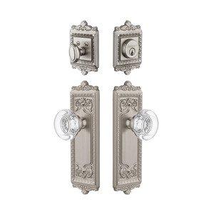Grandeur Door Hardware Handleset - Windsor Plate With Bordeaux Crystal Knob & Matching Deadbolt In Satin Nickel