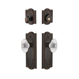 Grandeur Door Hardware Handleset - Parthenon Plate With Burgundy Crystal Knob & Matching Deadbolt In Timeless Bronze