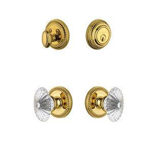 Grandeur Door Hardware Handleset - Newport Rosette With Burgundy Crystal Knob & Matching Deadbolt In Lifetime Brass