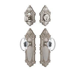 Grandeur Door Hardware Handleset - Grande Victorian Plate With Provence Crystal Knob & Matching Deadbolt In Satin Nickel