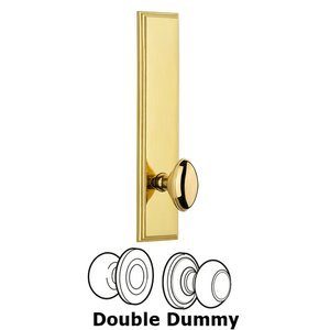 Grandeur Door Hardware - Carre - ' Tall Plate Double Dummy with Eden Prairie Knob in Lifetime Brass