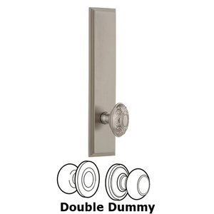 Grandeur Door Hardware - Carre - ' Tall Plate Double Dummy with Grande Victorian Knob in Satin Nickel